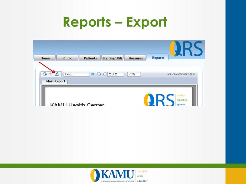 Reports – Export