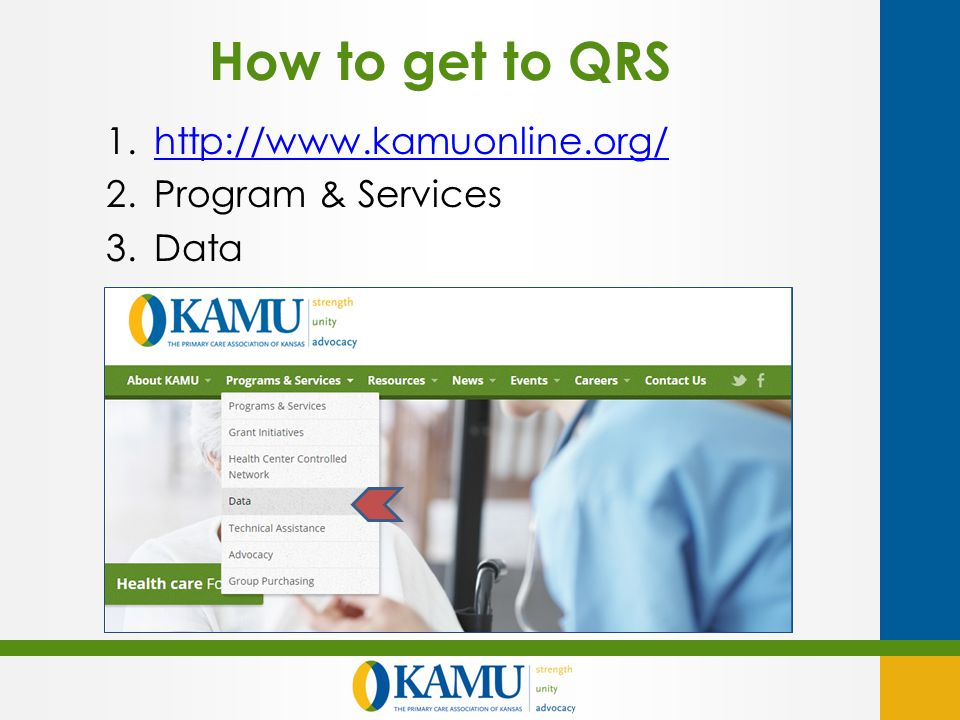 How to get to QRS 1.http://www.kamuonline.org/http://www.kamuonline.org/ 2.Program & Services 3.Data