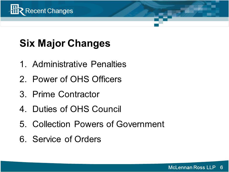 McLennan Ross LLP Recent Changes Administrative Penalties (Cont'd) Hon.