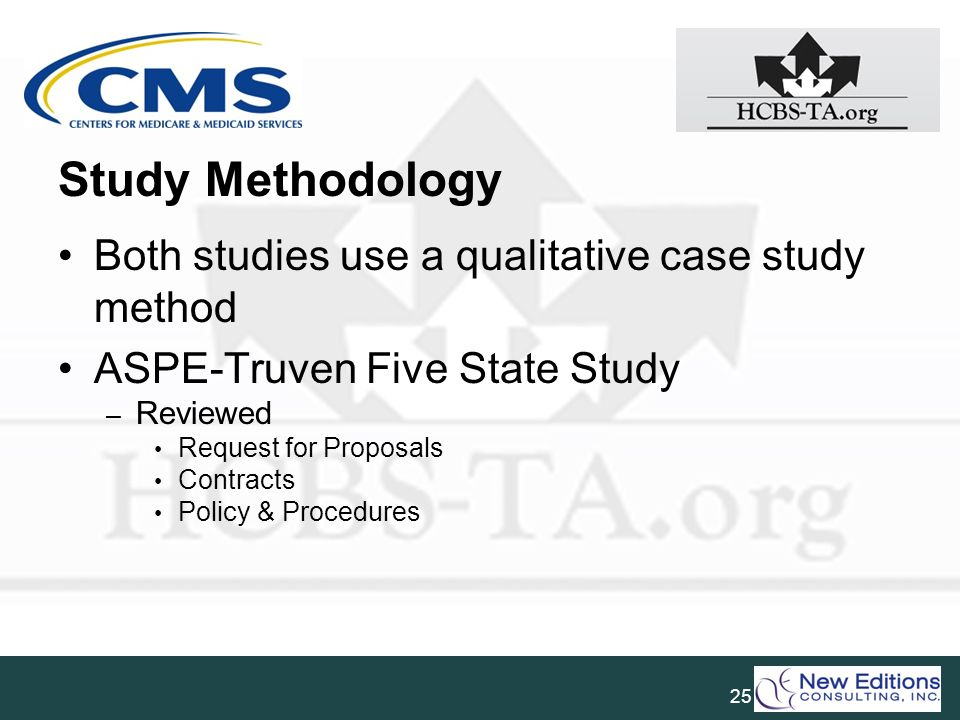 Study Methodology Both studies use a qualitative case study method ASPE-Truven Five State Study – Reviewed Request for Proposals Contracts Policy & Pr