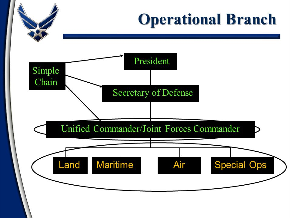ArmyNavyAir ForceSpecial Operations Unified Commander Secretary of Defense President Operational Branch Land Maritime Air Special Ops Simple Chain President Secretary of Defense Unified Commander/Joint Forces Commander