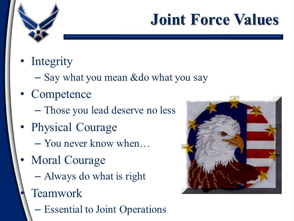 Integrity – Say what you mean &do what you say Competence – Those you lead deserve no less Physical Courage – You never know when… Moral Courage – Always do what is right Teamwork – Essential to Joint Operations Joint Force Values