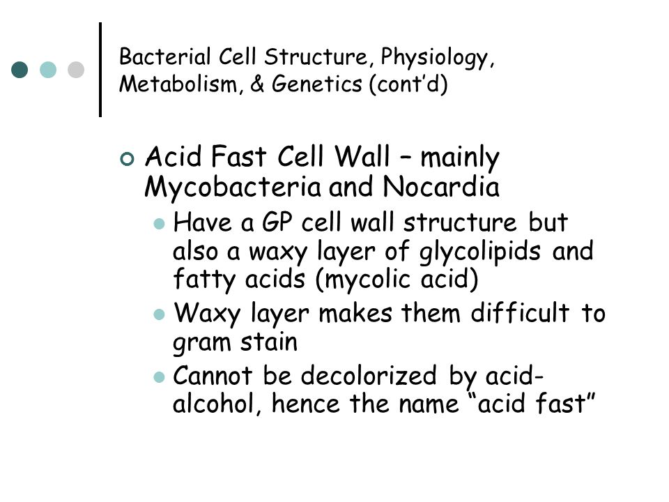 Bacterial Cell Structure, Physiology, Metabolism, & Genetics (cont'd) Acid Fast Cell Wall – mainly Mycobacteria and Nocardia Have a GP cell wall structure but also a waxy layer of glycolipids and fatty acids (mycolic acid) Waxy layer makes them difficult to gram stain Cannot be decolorized by acid- alcohol, hence the name acid fast