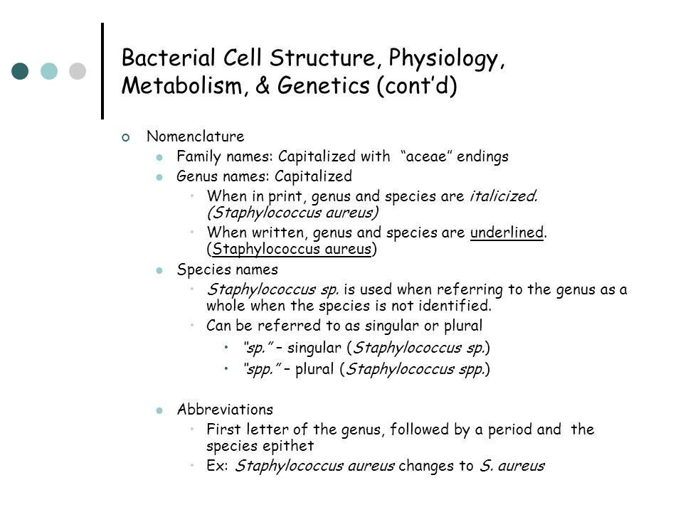 """Bacterial Cell Structure, Physiology, Metabolism, & Genetics (cont'd) Nomenclature Family names: Capitalized with """"aceae"""" endings Genus names: Capital"""