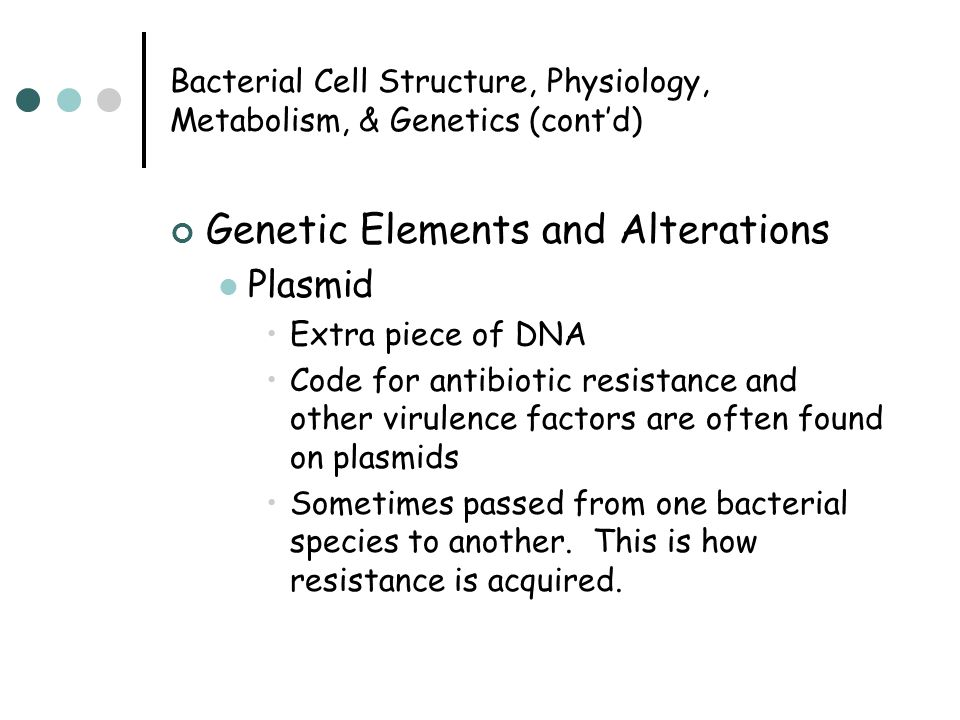 Bacterial Cell Structure, Physiology, Metabolism, & Genetics (cont'd) Genetic Elements and Alterations Plasmid Extra piece of DNA Code for antibiotic