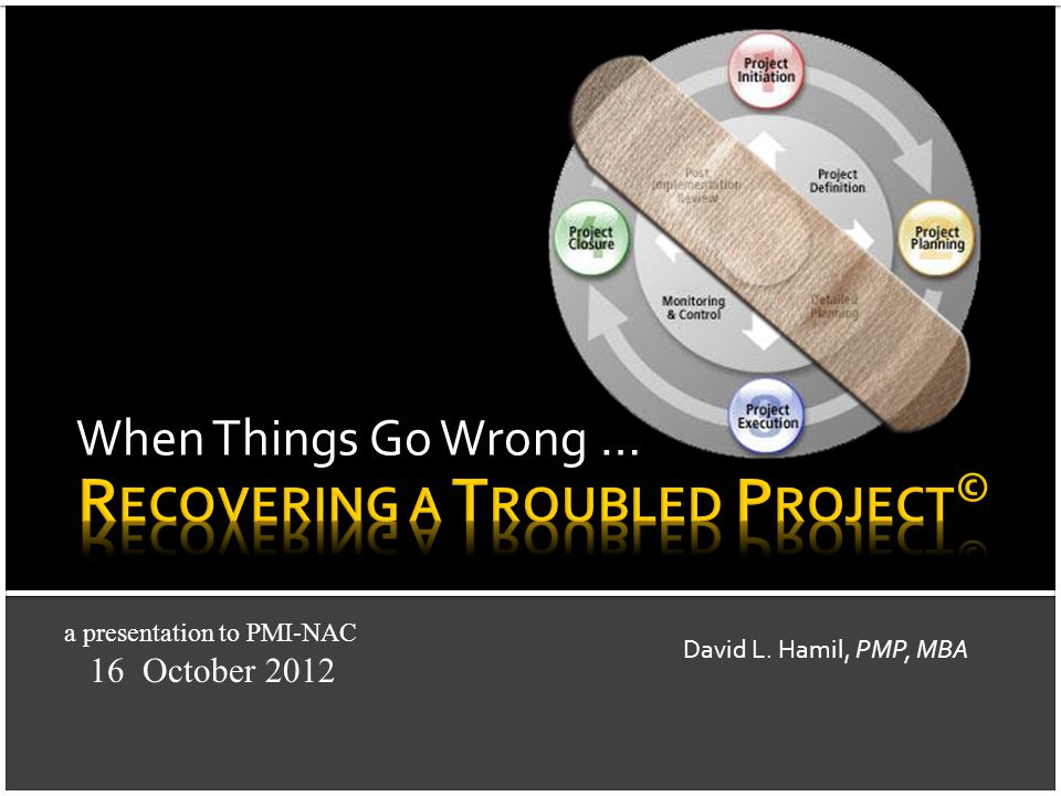 When Things Go Wrong … David L. Hamil, PMP, MBA a presentation to PMI-NAC 16 October 2012