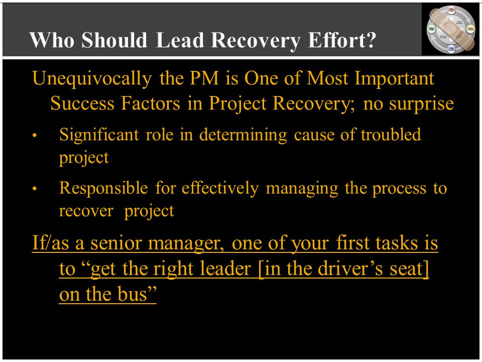 vvvvvvvvvv vvvvvvvvvv vvvvvvvvvv vvvvvvvvvv v Unequivocally the PM is One of Most Important Success Factors in Project Recovery; no surprise Significa