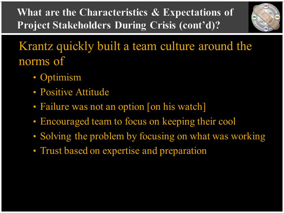 vvvvvvvvvv vvvvvvvvvv vvvvvvvvvv vvvvvvvvvv v Krantz quickly built a team culture around the norms of Optimism Positive Attitude Failure was not an option [on his watch] Encouraged team to focus on keeping their cool Solving the problem by focusing on what was working Trust based on expertise and preparation