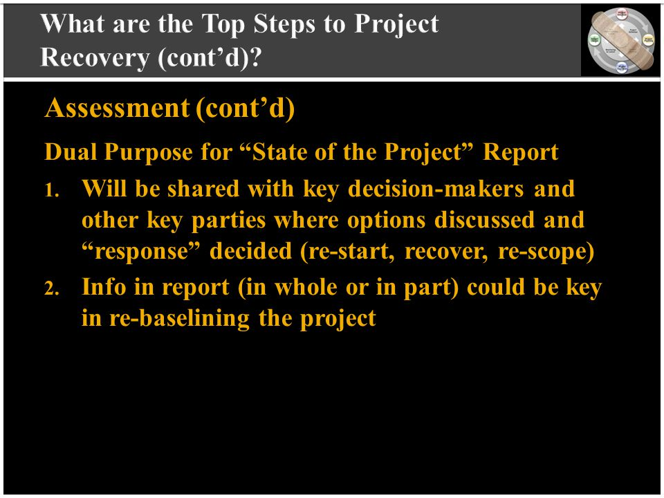 "vvvvvvvvvv vvvvvvvvvv vvvvvvvvvv vvvvvvvvvv v Assessment (cont'd) Dual Purpose for ""State of the Project"" Report 1. Will be shared with key decision-m"