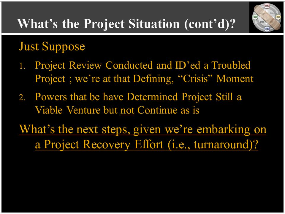 "vvvvvvvvvv vvvvvvvvvv vvvvvvvvvv vvvvvvvvvv v Just Suppose 1. Project Review Conducted and ID'ed a Troubled Project ; we're at that Defining, ""Crisis"""