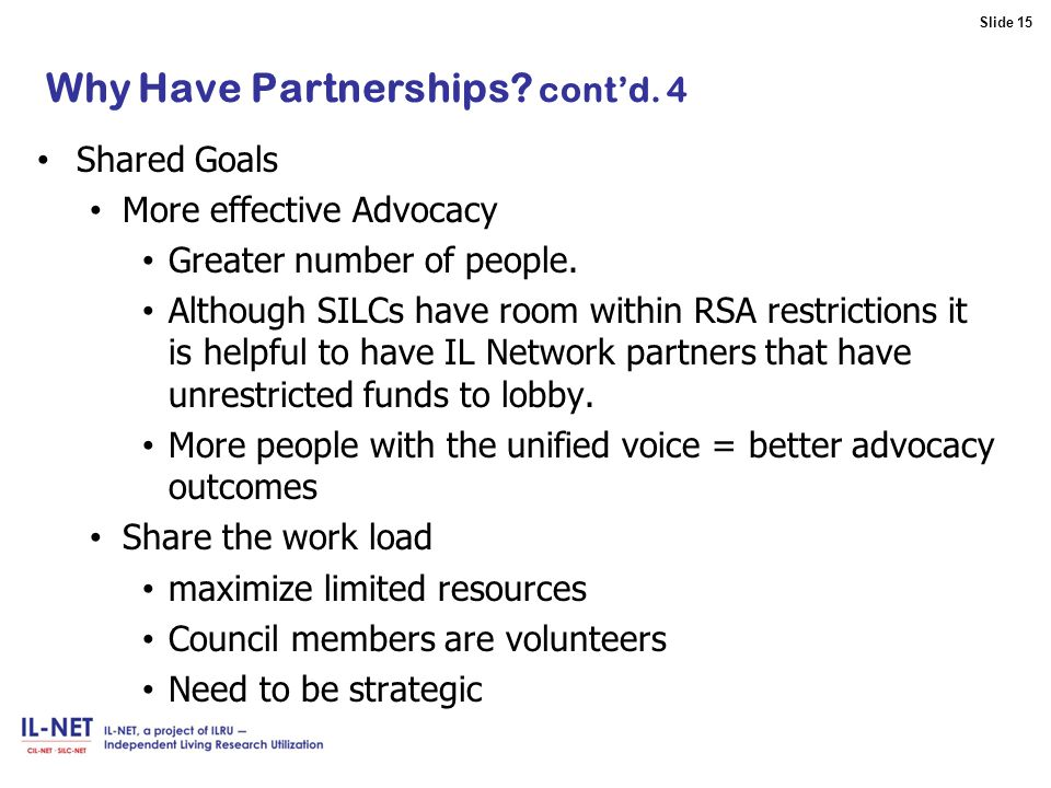 Slide 15 Slide 15 Why Have Partnerships.cont'd.