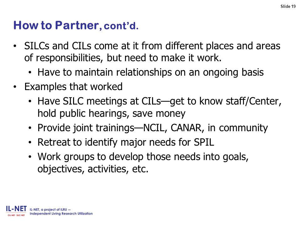 Slide 19 Slide 19 How to Partner, cont'd.