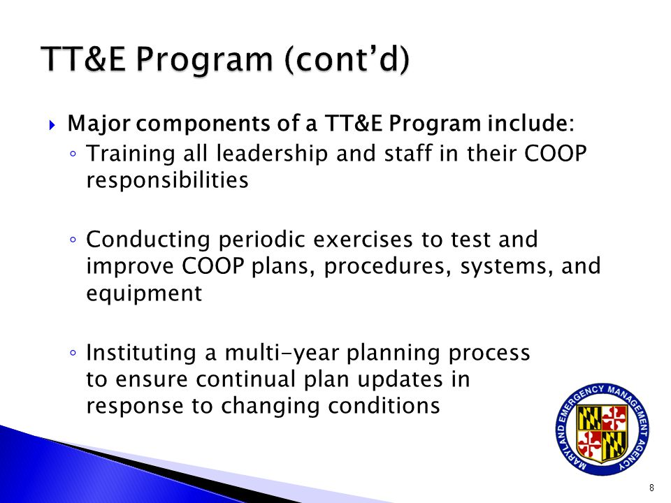 ActivityTasks Dept/Personnel Responsible Frequency COOP plan update and certification Review entire plan for accuracy.