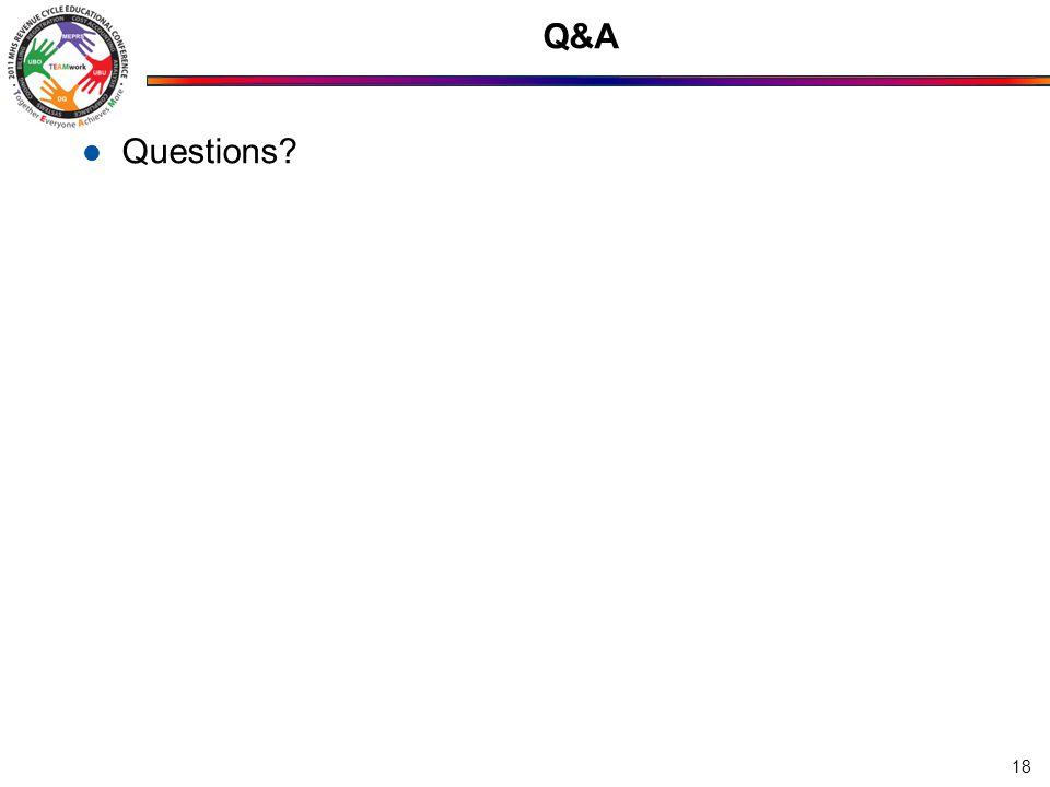 Q&A Questions? 18
