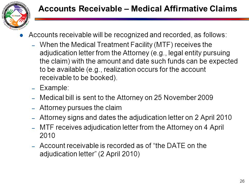 Accounts Receivable – Medical Affirmative Claims Accounts receivable will be recognized and recorded, as follows: – When the Medical Treatment Facilit