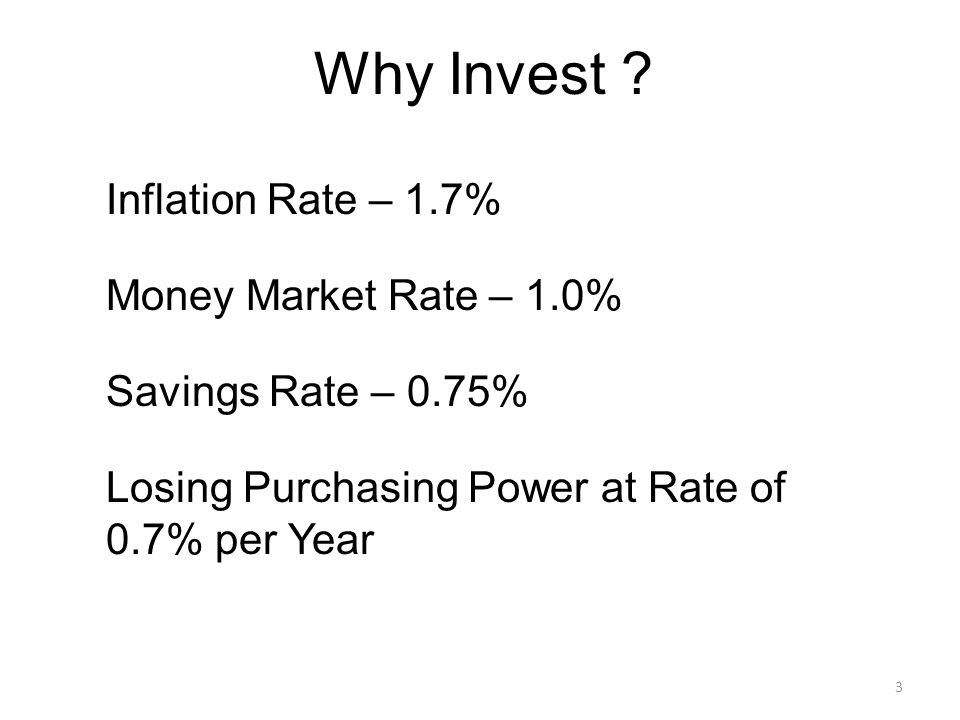 Why Invest ? 3 Inflation Rate – 1.7% Money Market Rate – 1.0% Savings Rate – 0.75% Losing Purchasing Power at Rate of 0.7% per Year