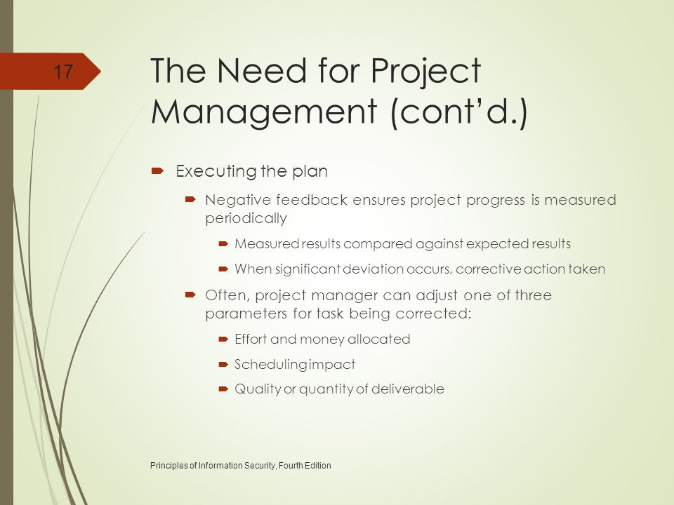 The Need for Project Management (cont'd.)  Executing the plan  Negative feedback ensures project progress is measured periodically  Measured result
