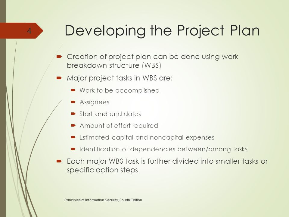 Developing the Project Plan  Creation of project plan can be done using work breakdown structure (WBS)  Major project tasks in WBS are:  Work to be