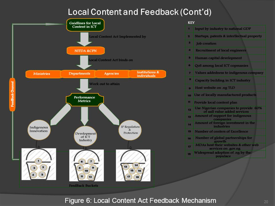 Local Content and Feedback (Cont'd) Figure 6: Local Content Act Feedback Mechanism 20