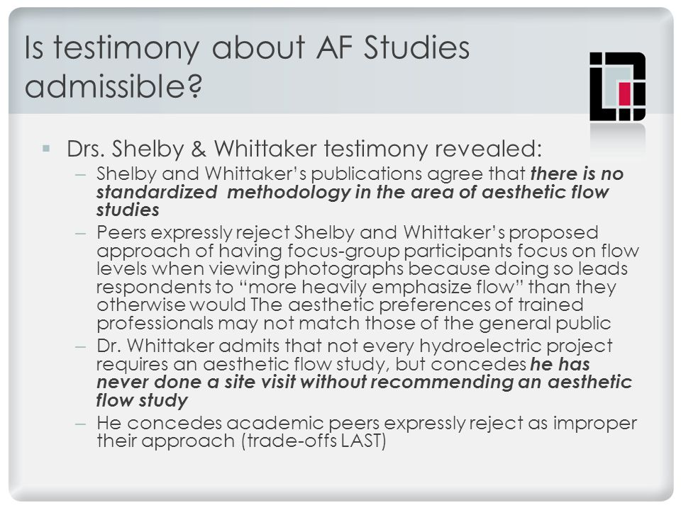 Is testimony about AF Studies admissible.  Drs.