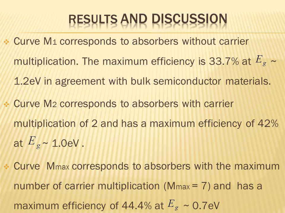  Curve M 1 corresponds to absorbers without carrier multiplication. The maximum efficiency is 33.7% at ~ 1.2eV in agreement with bulk semiconductor m
