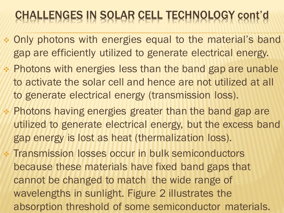 Only photons with energies equal to the material's band gap are efficiently utilized to generate electrical energy.  Photons with energies less tha