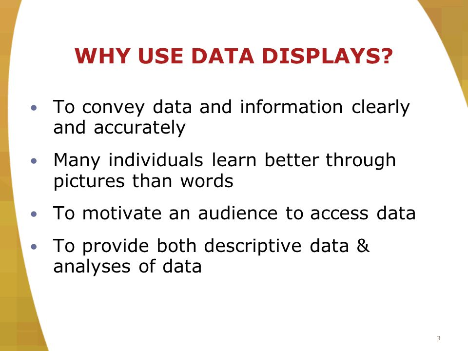 3 WHY USE DATA DISPLAYS.