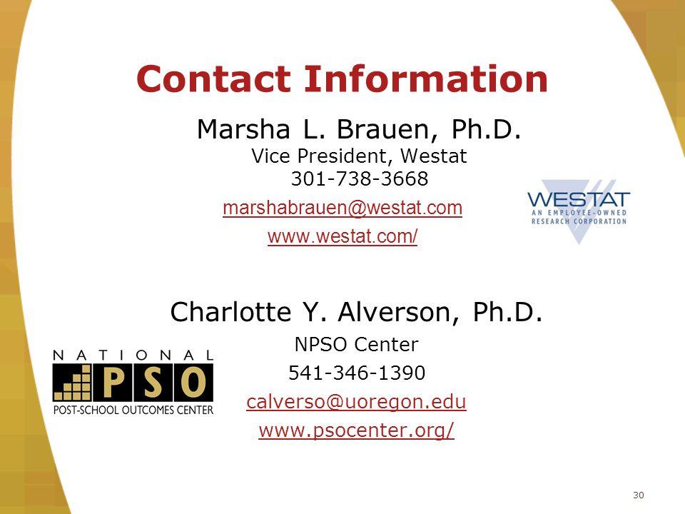 Contact Information Marsha L. Brauen, Ph.D.