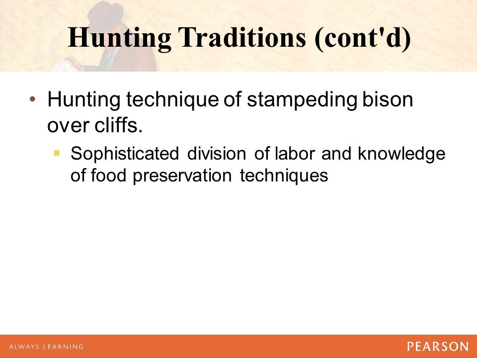 Hunting Traditions (cont'd) Hunting technique of stampeding bison over cliffs.  Sophisticated division of labor and knowledge of food preservation te