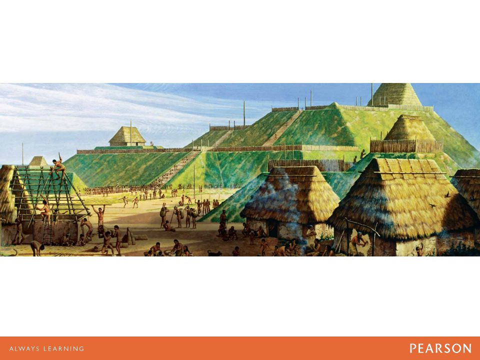 Painting of Cahokia Mounds, Collinsville, Illinois by Michael Hampshire.