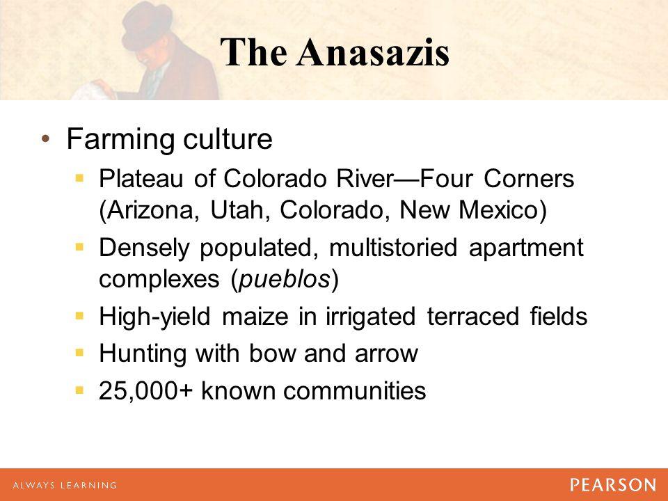 The Anasazis Farming culture  Plateau of Colorado River—Four Corners (Arizona, Utah, Colorado, New Mexico)  Densely populated, multistoried apartmen