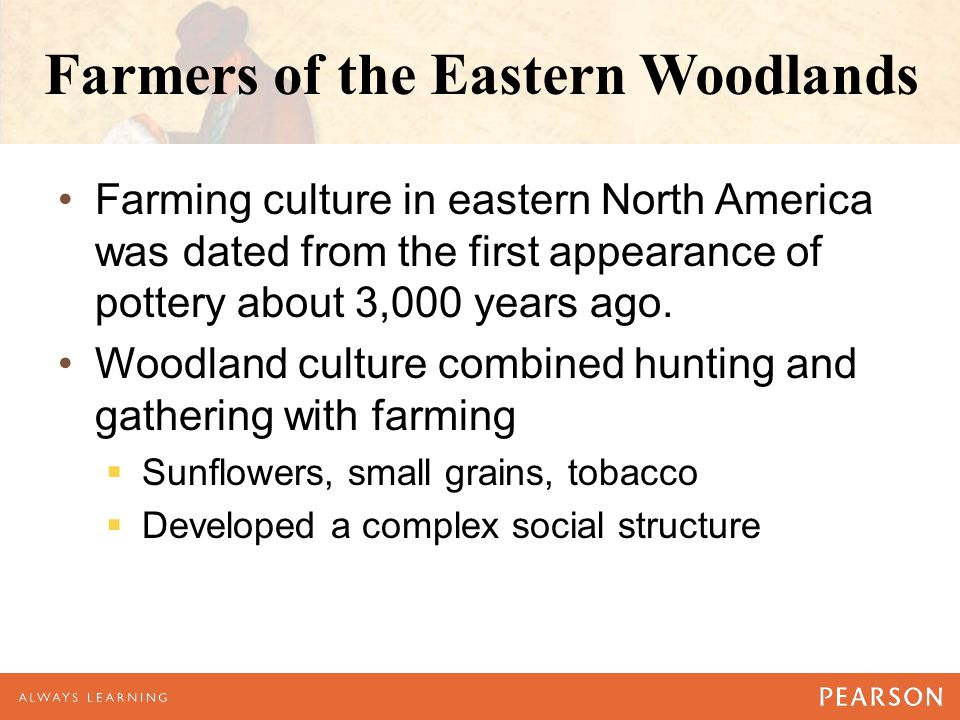 Farmers of the Eastern Woodlands Farming culture in eastern North America was dated from the first appearance of pottery about 3,000 years ago. Woodla