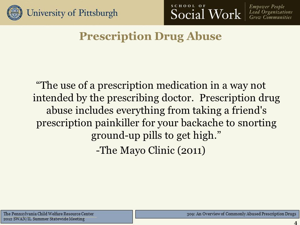 309: An Overview of Commonly Abused Prescription Drugs The Pennsylvania Child Welfare Resource Center 2012 SWAN/IL Summer Statewide Meeting CNS Depressant (Benzodiazepine) 15