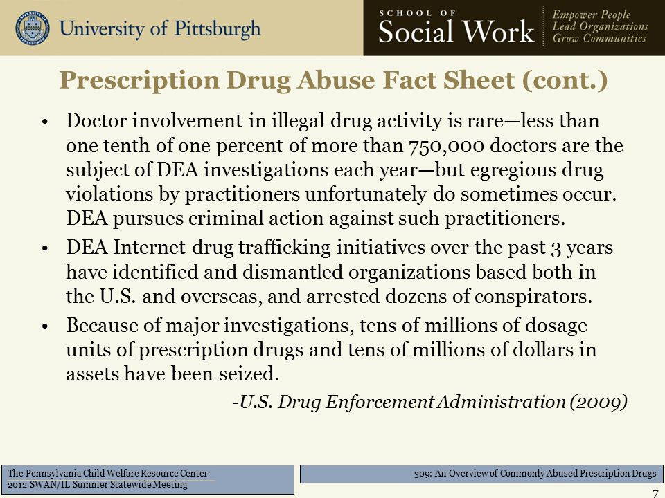 309: An Overview of Commonly Abused Prescription Drugs The Pennsylvania Child Welfare Resource Center 2012 SWAN/IL Summer Statewide Meeting 1850 – 1900 Prescription Drug Abuse Timeline 8
