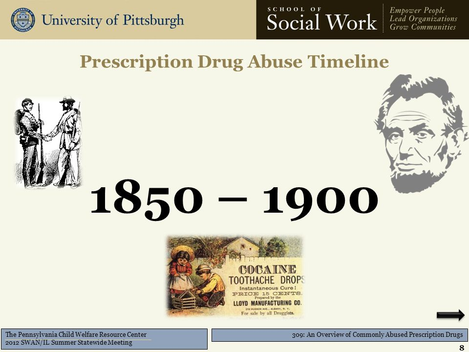 309: An Overview of Commonly Abused Prescription Drugs The Pennsylvania Child Welfare Resource Center 2012 SWAN/IL Summer Statewide Meeting Opioids, (cont'd) 19