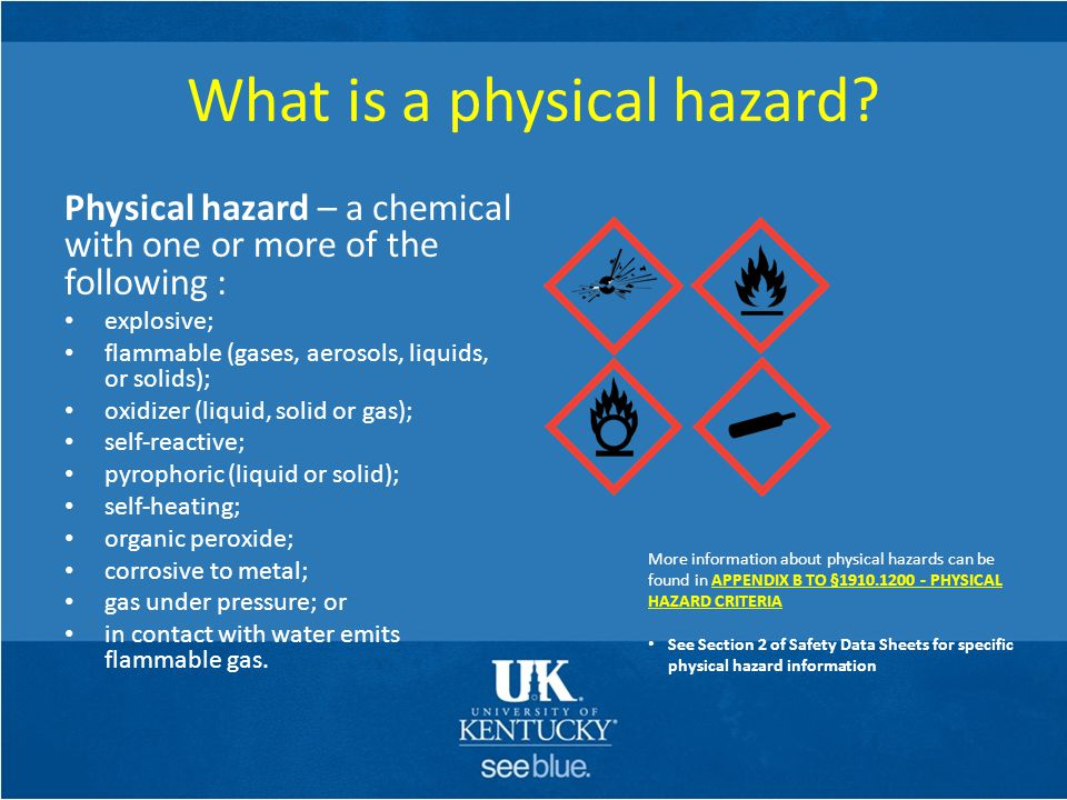 Secondary Container Labeling (cont'd) Each secondary container of hazardous chemicals in the workplace shall be labeled, tagged or marked with at least the following information: – Identity of the hazardous chemical(s) – Appropriate hazard warnings, or words, pictures, and/or symbols which provide information regarding the hazards of the chemicals.