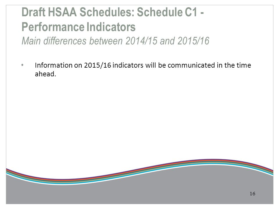 Draft HSAA Schedules: Schedule C1 - Performance Indicators Main differences between 2014/15 and 2015/16 Information on 2015/16 indicators will be comm