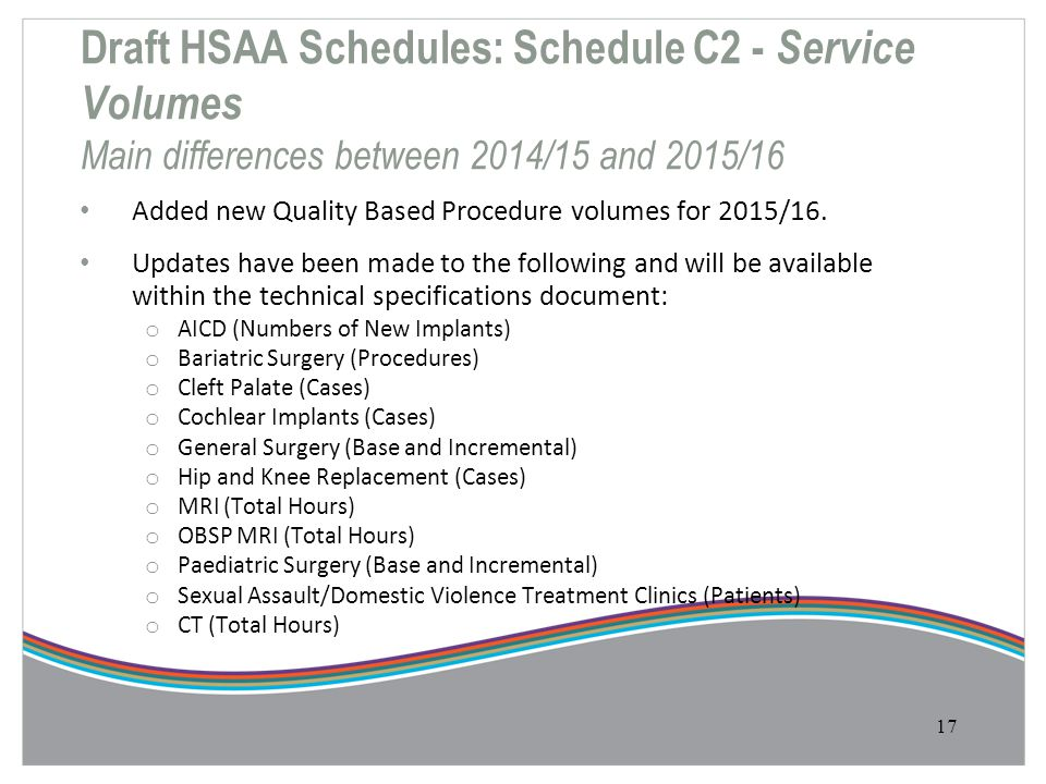 Draft HSAA Schedules: Schedule C2 - Service Volumes Main differences between 2014/15 and 2015/16 Added new Quality Based Procedure volumes for 2015/16