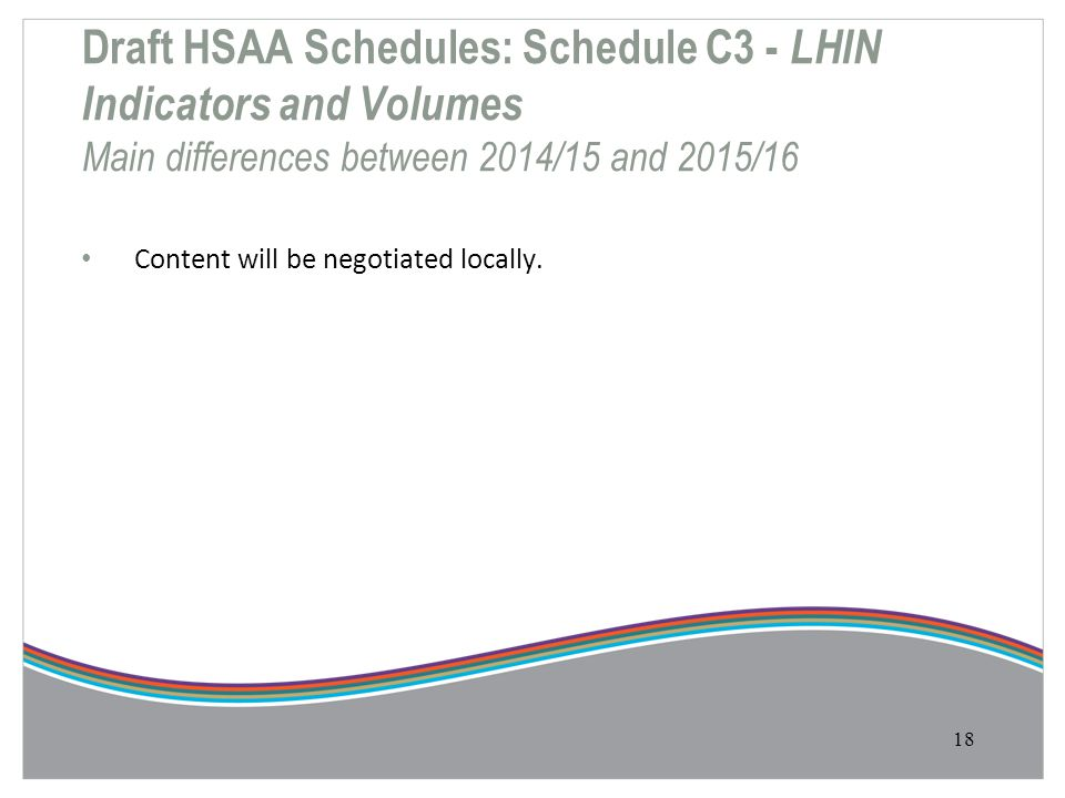 Draft HSAA Schedules: Schedule C3 - LHIN Indicators and Volumes Main differences between 2014/15 and 2015/16 Content will be negotiated locally. 18