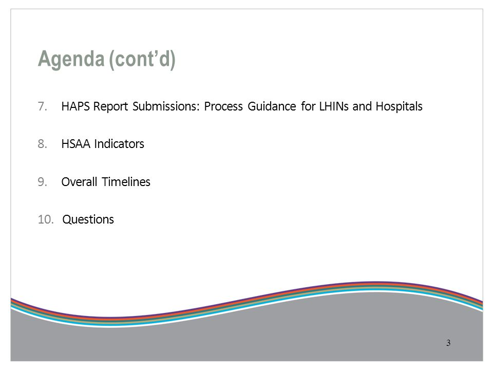 Agenda (cont'd) 7. HAPS Report Submissions: Process Guidance for LHINs and Hospitals 8. HSAA Indicators 9. Overall Timelines 10. Questions 3