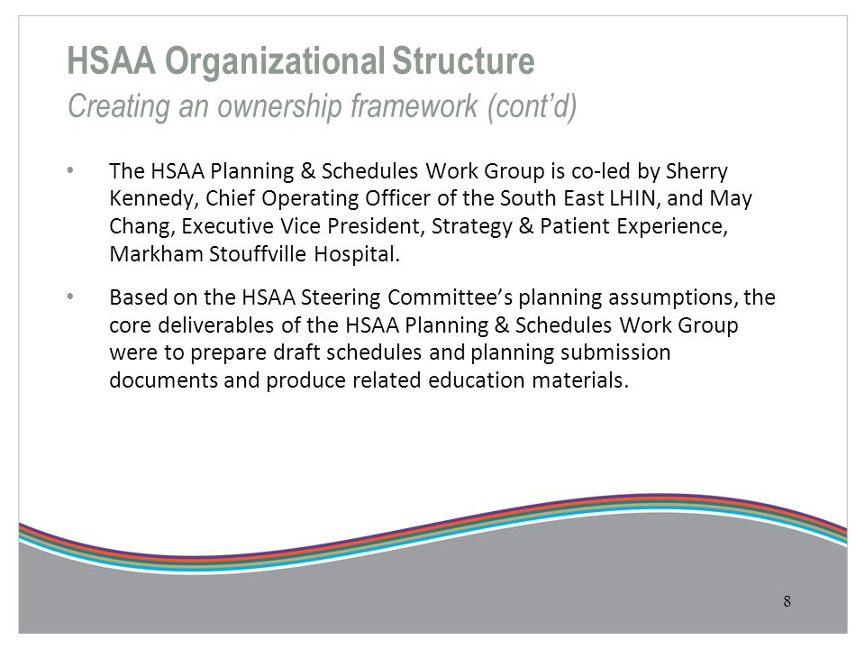 HSAA Organizational Structure Creating an ownership framework (cont'd) The HSAA Planning & Schedules Work Group is co-led by Sherry Kennedy, Chief Ope