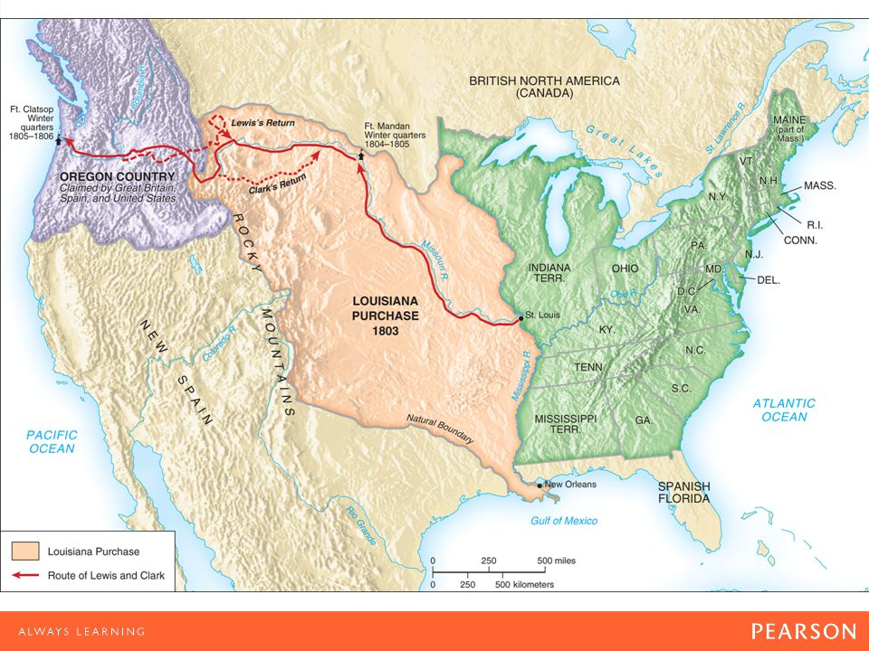 Map 8.1 The Louisiana Purchase and the Route of Lewis and Clark Not until Lewis and Clark had explored the Far West did citizens of the United States realize just how much territory Jefferson had acquired through the Louisiana Purchase.
