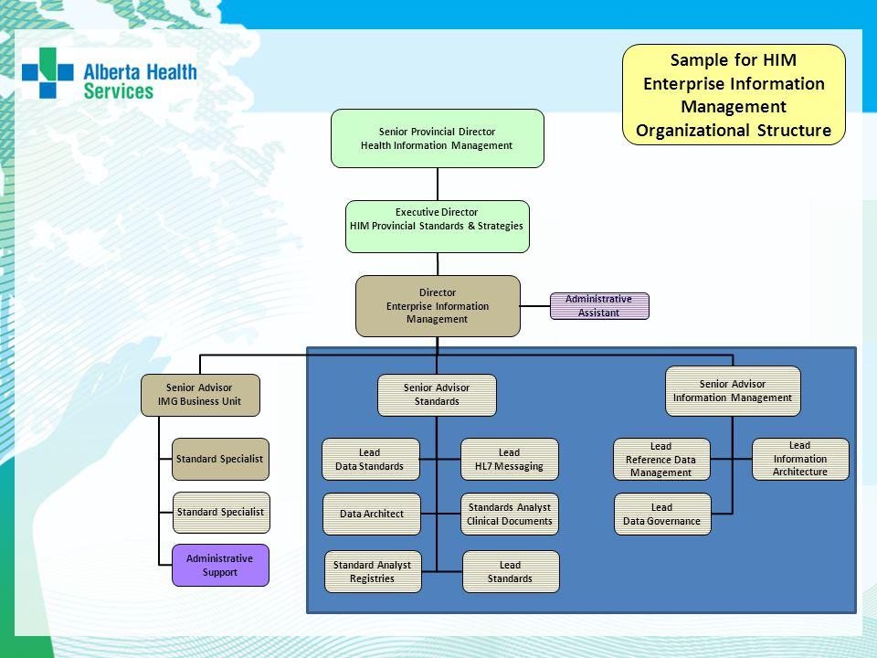 Executive Director HIM Provincial Standards & Strategies Senior Provincial Director Health Information Management Sample for HIM Enterprise Informatio