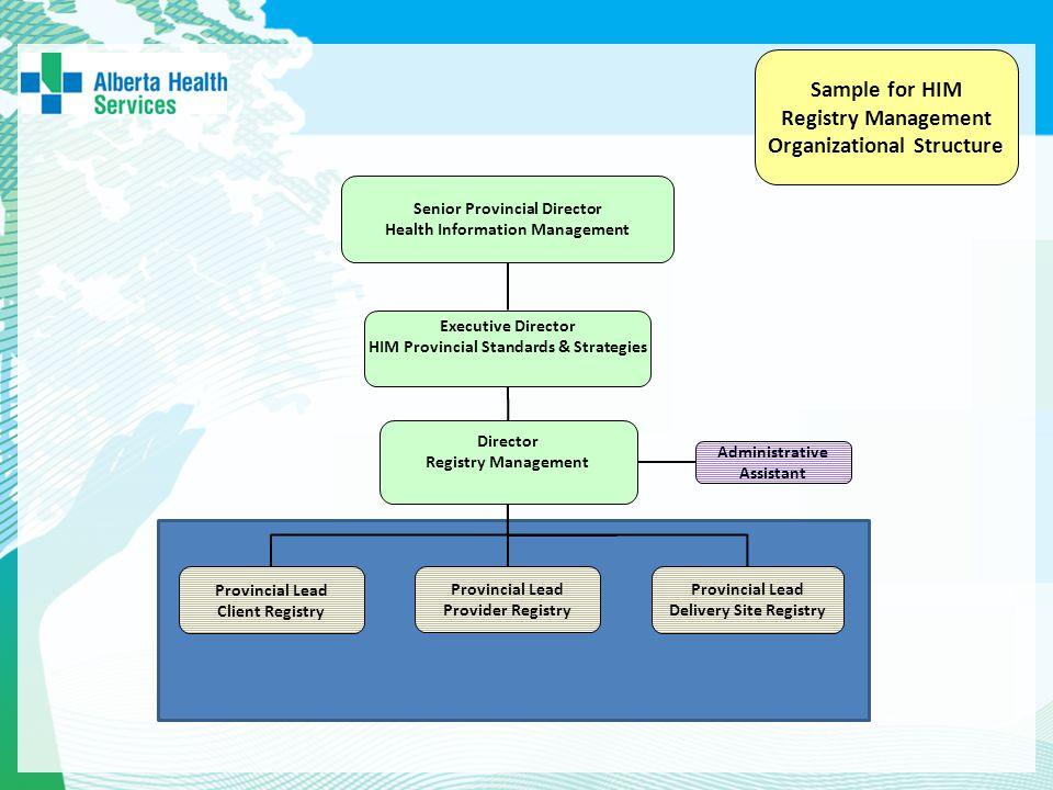 Sample for HIM Registry Management Organizational Structure Executive Director HIM Provincial Standards & Strategies Senior Provincial Director Health
