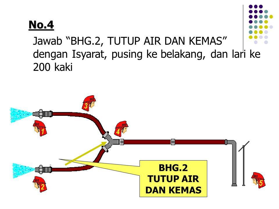 No.4 Jawab BHG.2, TUTUP AIR DAN KEMAS dengan Isyarat, pusing ke belakang, dan lari ke 200 kaki BHG.2 TUTUP AIR DAN KEMAS
