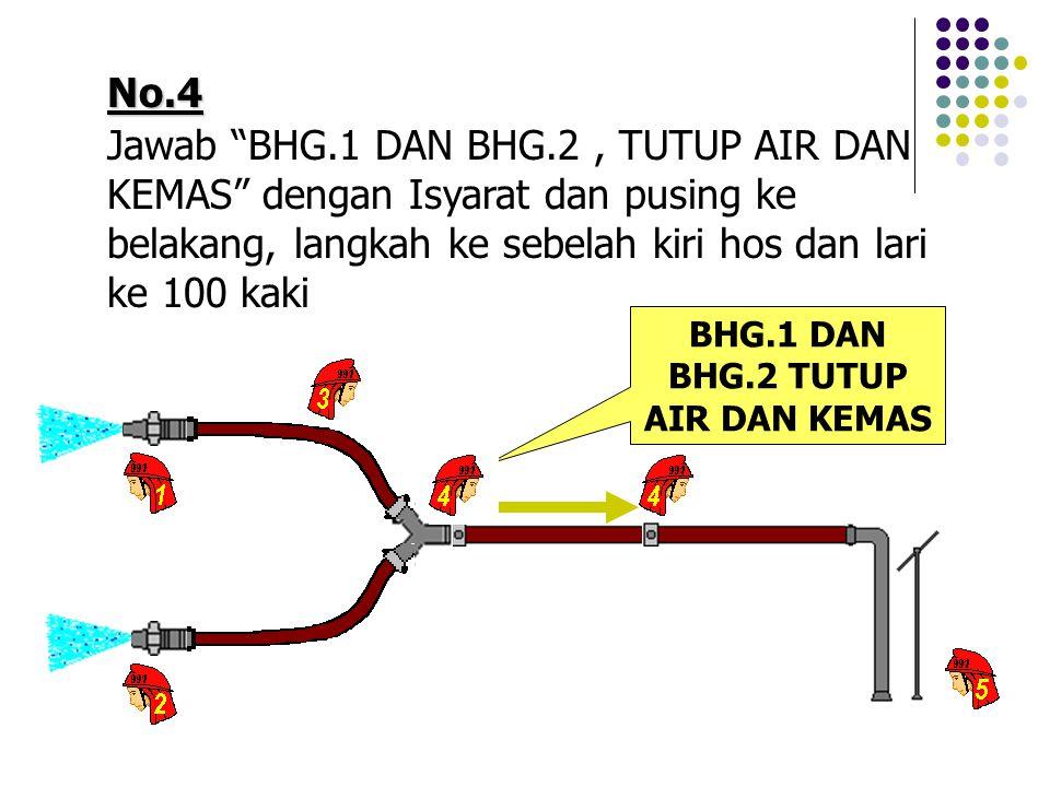 No.4 Jawab BHG.1 DAN BHG.2, TUTUP AIR DAN KEMAS dengan Isyarat dan pusing ke belakang, langkah ke sebelah kiri hos dan lari ke 100 kaki BHG.1 DAN BHG.2 TUTUP AIR DAN KEMAS