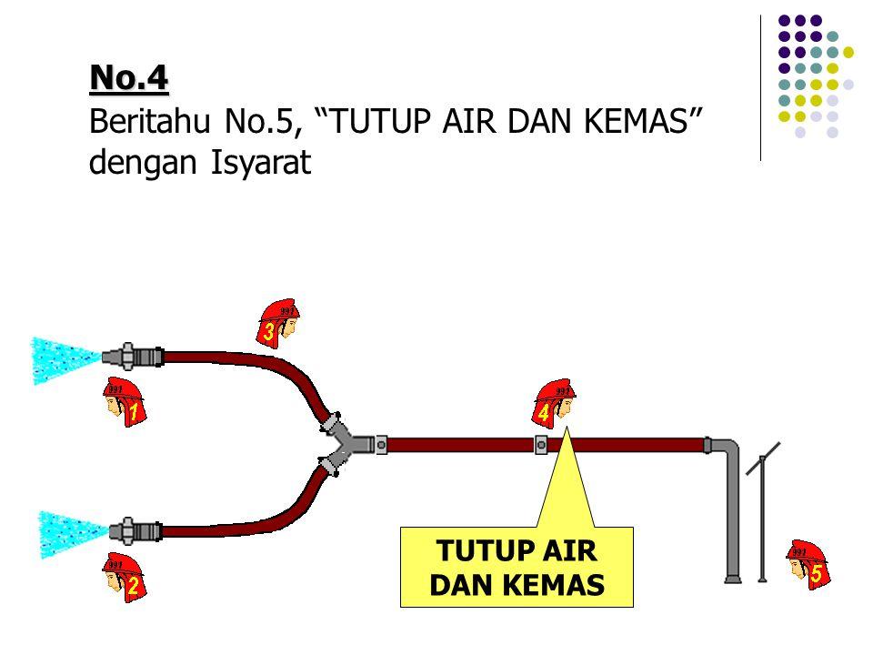 No.4 Beritahu No.5, TUTUP AIR DAN KEMAS dengan Isyarat TUTUP AIR DAN KEMAS