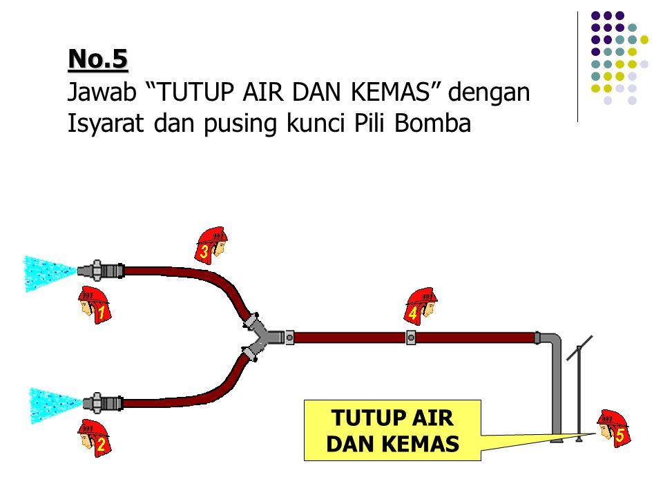 No.5 Jawab TUTUP AIR DAN KEMAS dengan Isyarat dan pusing kunci Pili Bomba TUTUP AIR DAN KEMAS
