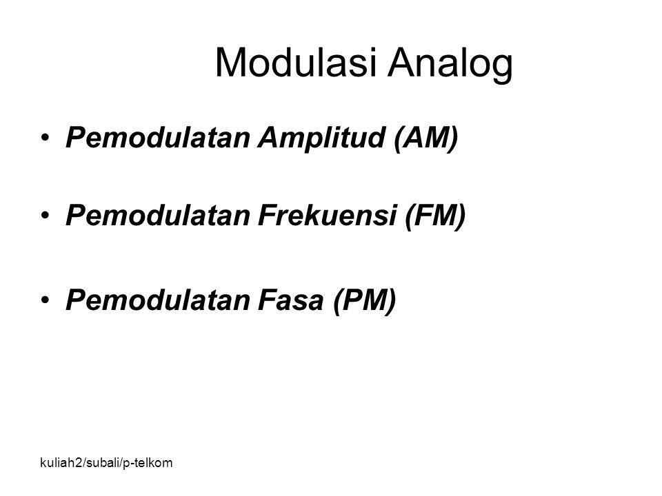 kuliah2/subali/p-telkom Modulasi Analog Pemodulatan Amplitud (AM) Pemodulatan Frekuensi (FM) Pemodulatan Fasa (PM)