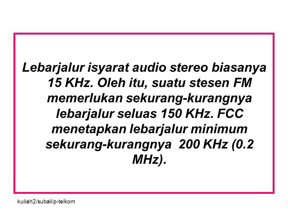 kuliah2/subali/p-telkom Lebarjalur isyarat audio stereo biasanya 15 KHz. Oleh itu, suatu stesen FM memerlukan sekurang-kurangnya lebarjalur seluas 150